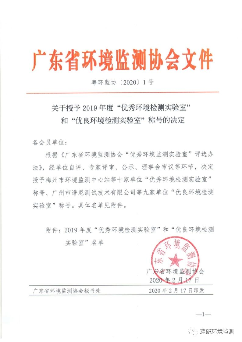 建研环境监测获评2019年度广东省优秀环境检测实验室!