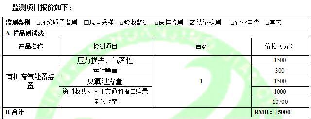 广东建研环境监测-有机废气处置装置费用